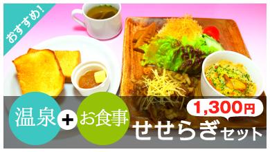 温泉+お食事 せせらぎセット1,200円