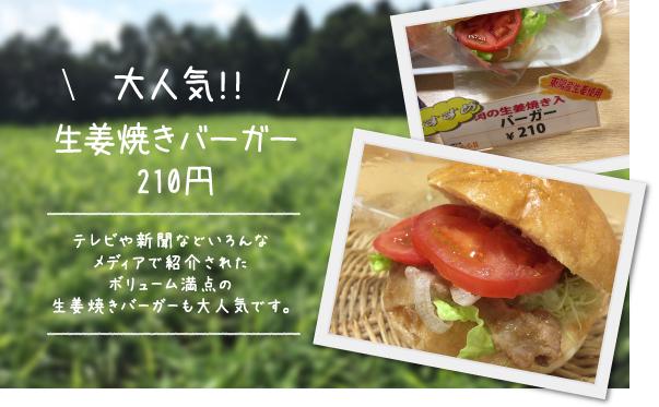 大人気!!生姜焼きバーガー210円